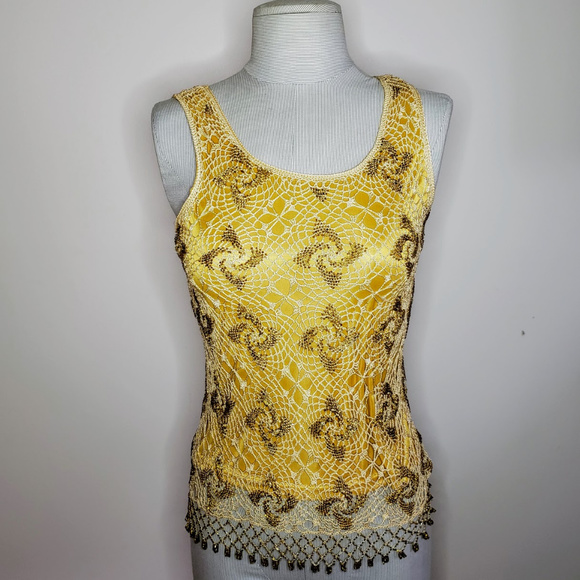 Cache Tops - Cache Yellow Beaded Crochet Tank Top